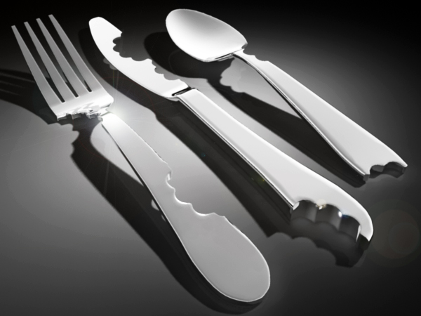 Bite knife, fork, spoon by Mark Reigelman