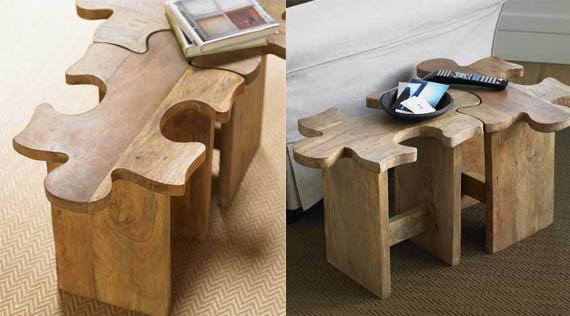 Jigsaw puzzle piece stools