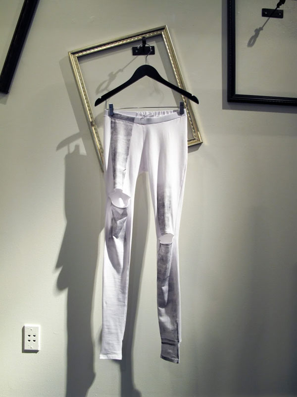 Image of white printed leggings by Shin Pop-Up Shop at Acrimony