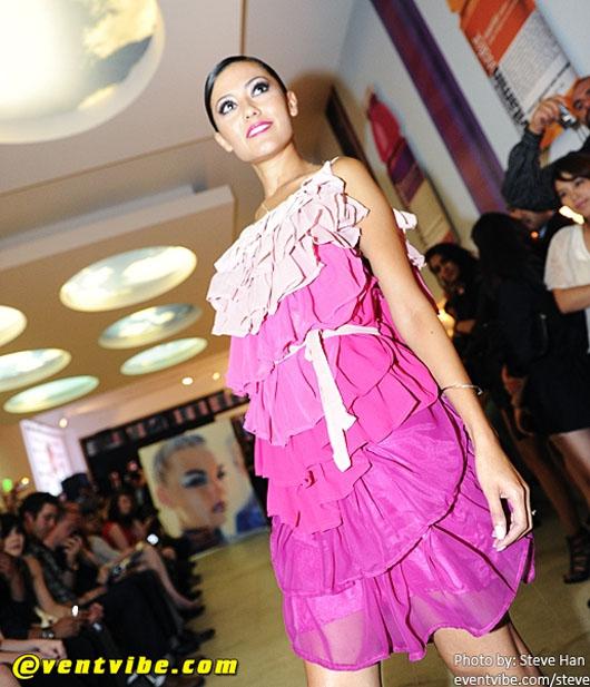 image of Designer Alyssa Nicole at SFFW 2010 pink ruffle dress