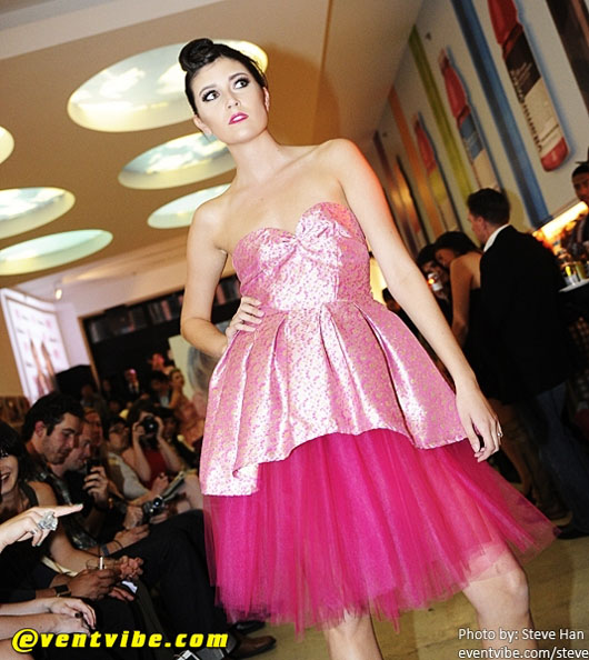 image of Designer Alyssa Nicole at SFFW 2010 pink tool dress