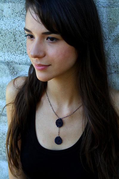image of Leyna Lightman SoEx Lace Necklace in Dark Grey