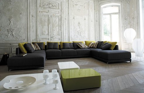 image of Large grey sofa