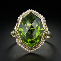 image of Gold Art Deco Peridot Ring