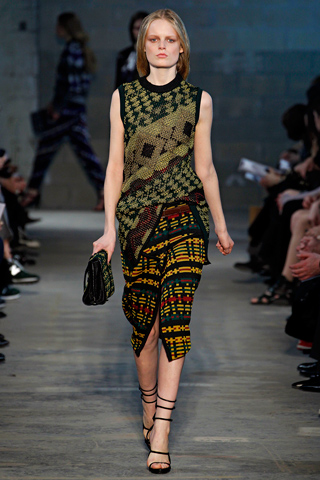 Proenza Schouler Fall 2011 RTW- Navajo tribal style- Laurel Schaffer - Downright Red