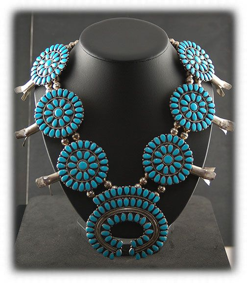 image of Vintage Navajo Squash Blossom Necklace