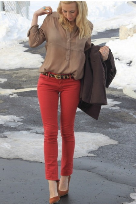 image of red pants camel shirt