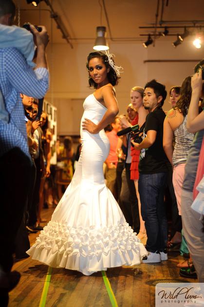 Violetta Vieux- textured bridal gown -Viogemini- San Francisco Fashion Week 2011 - Couture wedding dresses- Laurel Schaffer- Downright red- stylebust