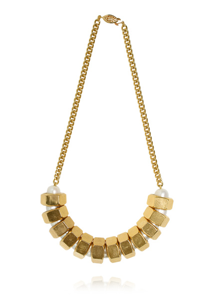 image of Ana Locking Golden nuts and pearls necklace