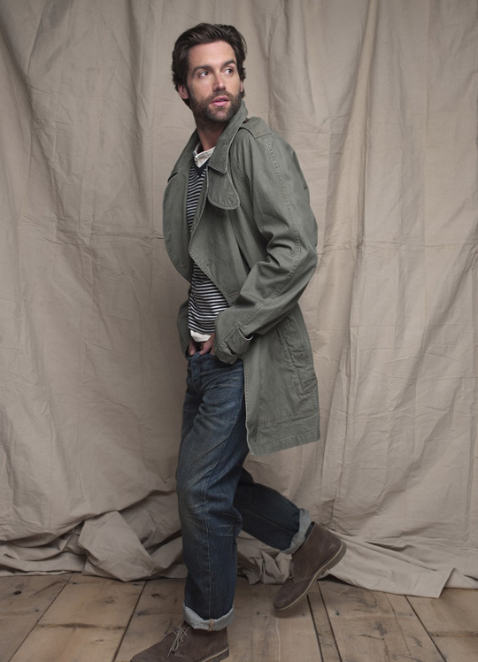 image of club-monaco-spring-2011-mens-military-jacket-benjamin-striped-v-neck-owen-henley-slim-straight-jean-clarks-desert-boots