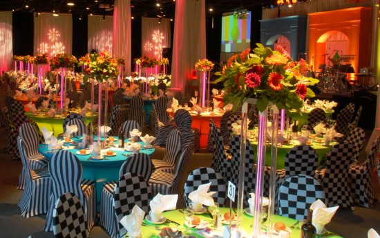 image of colorful dinner event decor