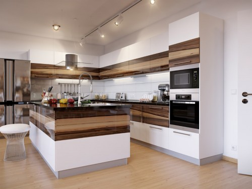 walnut wood kitchen