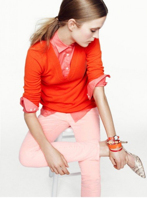 image of jcrew red tangerine orange pink outfit sweater button up bracelet