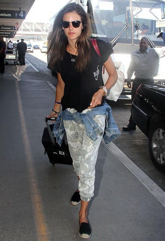 Alessandra Ambrosio wearing Wildfox Ugh Romeo Pocket Tee