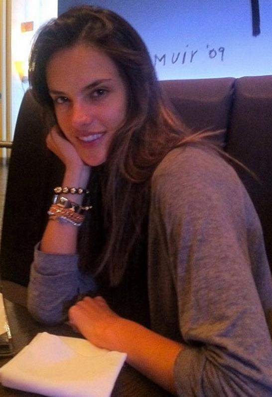 Alessandra Ambrosio wearing Nialaya Jewelry Crystal 10mm String Bracelet