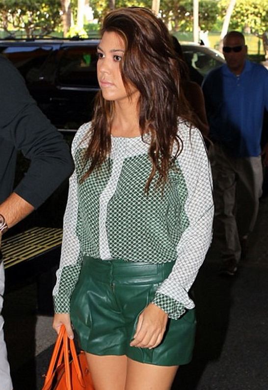 Kourtney Kardashian wearing Gabby Applegate Leather Shorts in Hunter Green