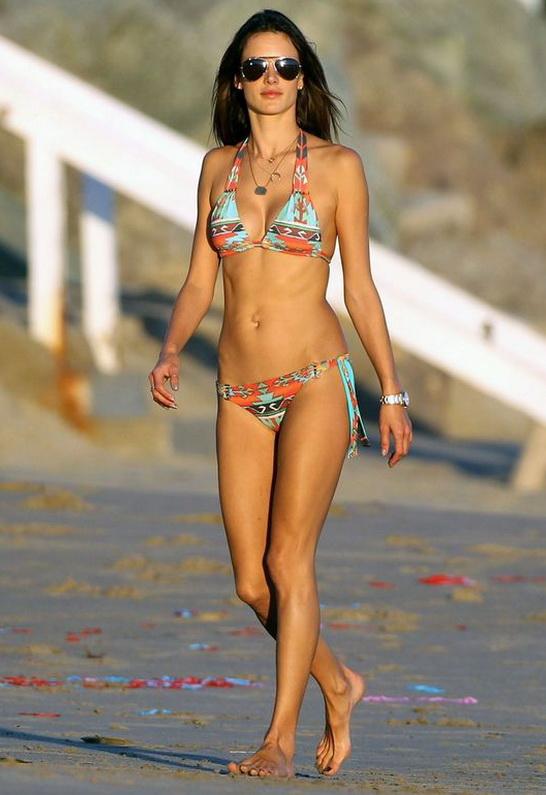 Alessandra Ambrosio wearing ale by alessandra Beaded Slide Triangle Bikini Top