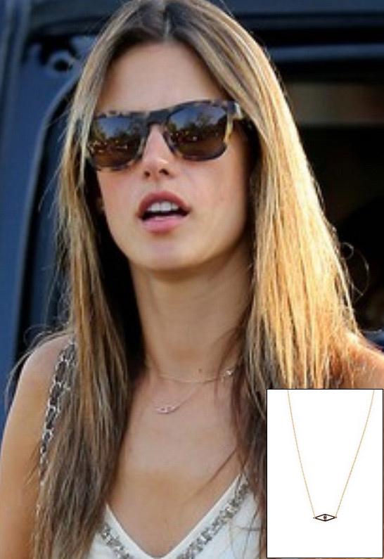 Alessandra Ambrosio wearing Jennifer Zeuner Mini Raquel Evil Eye Necklace