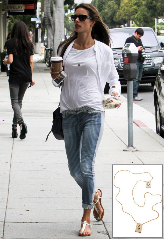 Alessandra Ambrosio wearing Jennifer Zeuner Santorini Hamsa/Eye Necklace