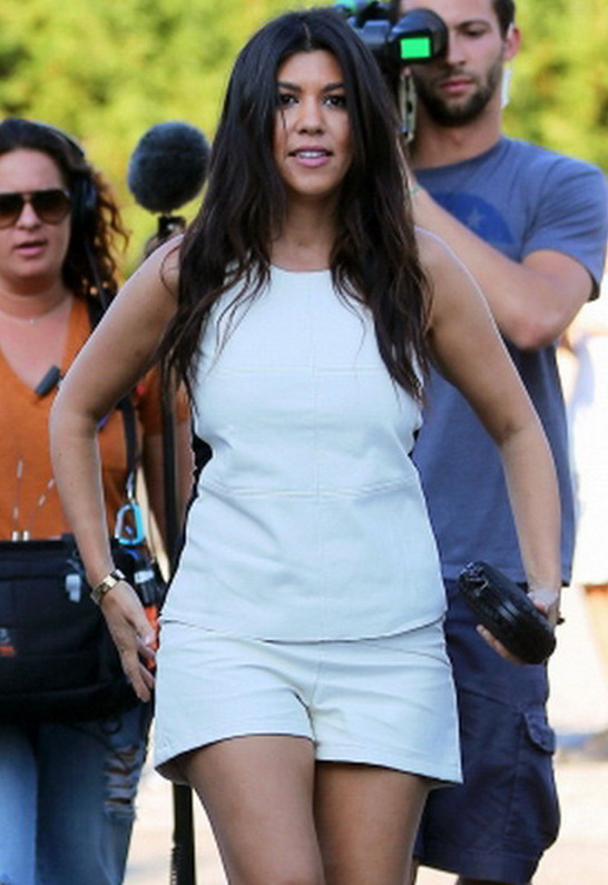 Kourtney Kardashian wearing T Bags Faux Leather Shorts