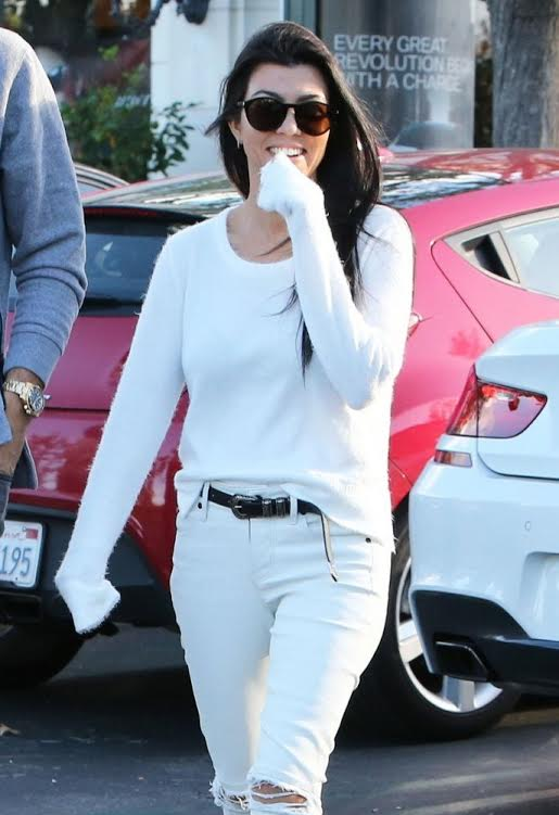 Kourtney Kardashian wearing Feel The Piece Dove Sweater