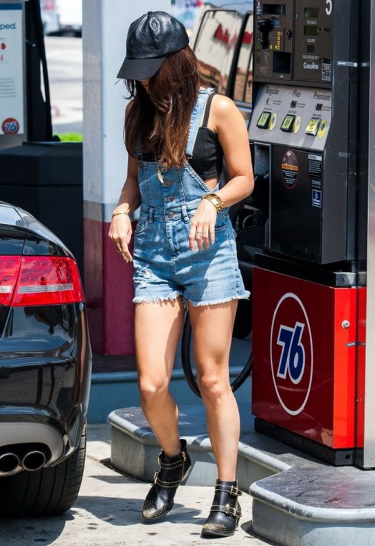 Vanessa Hudgens wearing Blank NYC Roll In The Hay Overalls