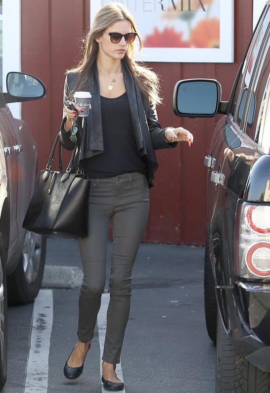 Alessandra Ambrosio wearing Level 99 Janice Moto Skinny