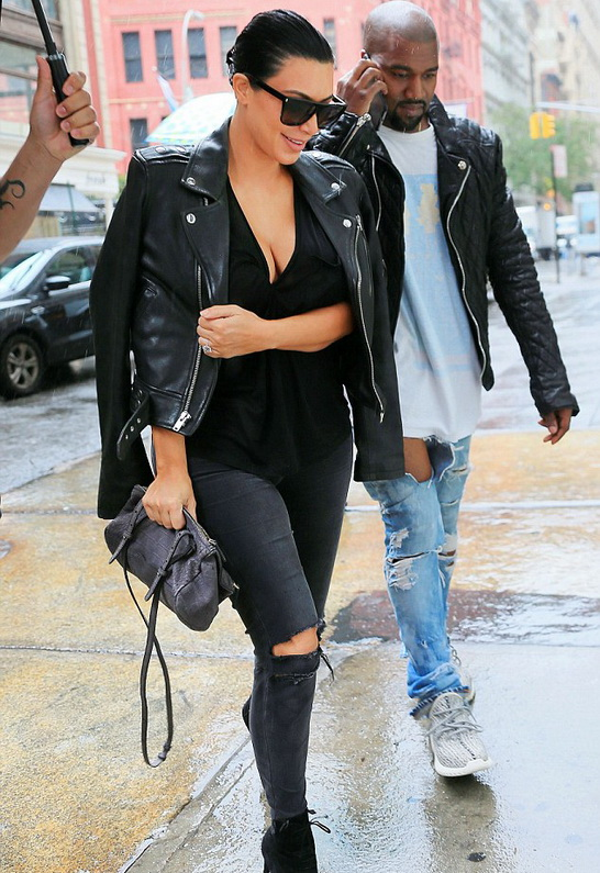 Kim Kardashian wearing BLK DNM Moto Leather Jacket 1