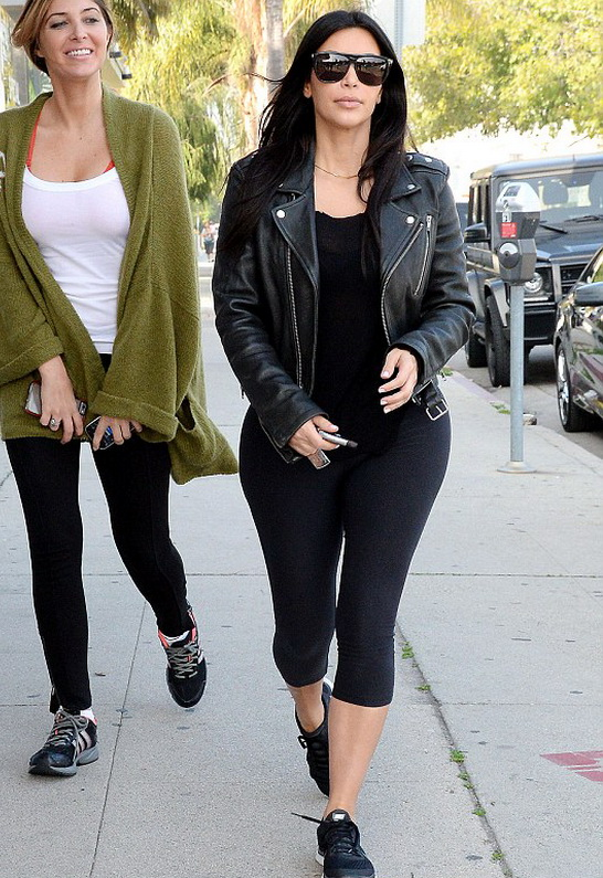 Kim Kardashian wearing BLK DNM Moto Leather Jacket 1