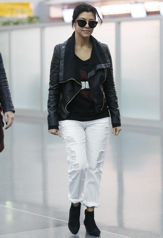 Kourtney Kardashian wearing RES Denim Romeo Boyfriend Jean