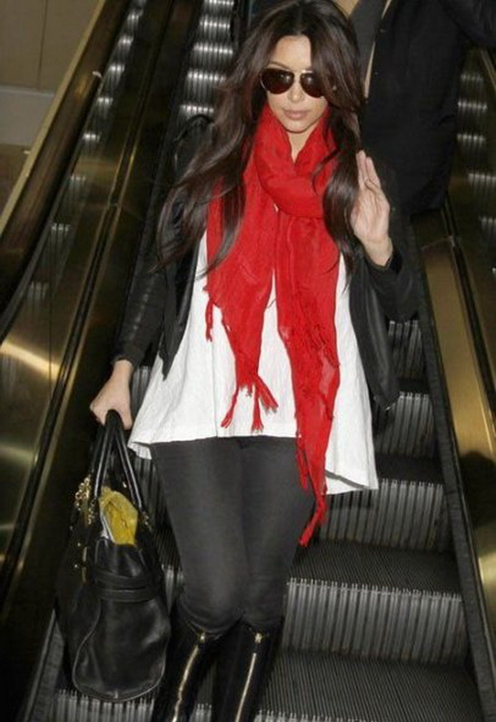 Kim Kardashian wearing Love Quotes Hand Knotted Tassel Scarf