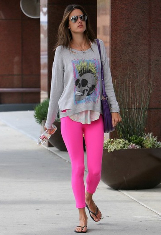 Alessandra Ambrosio wearing Lauren Moshi Jewel Toxic Skull Long Sleeve Sweater with Holes