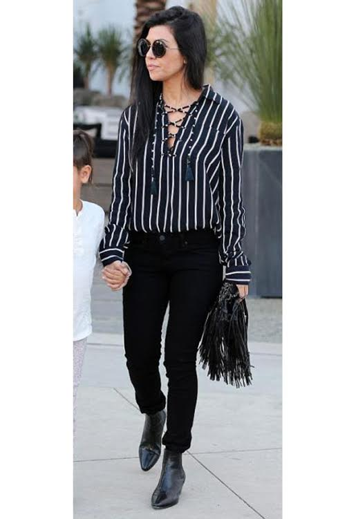 Kourtney Kardashian wearing Faithfull The Brand Stevie Top