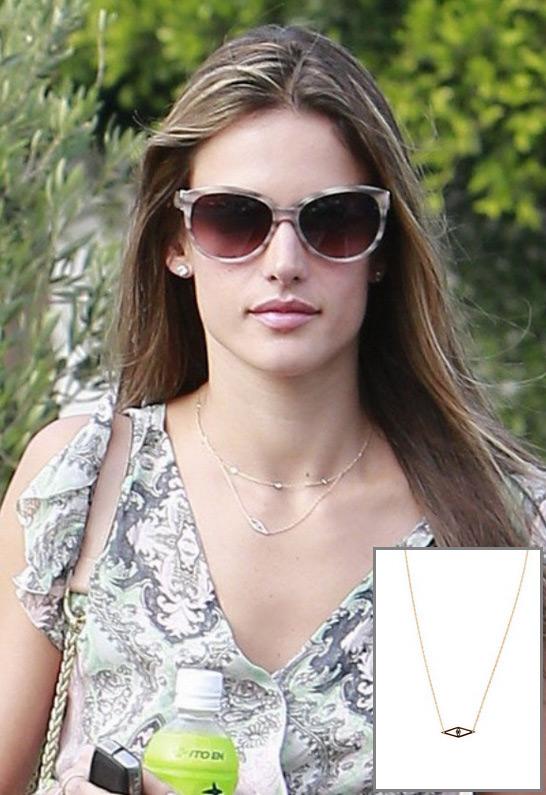 Alessandra Ambrosio wearing Jennifer Zeuner Mini Raquel Evil Eye Necklace