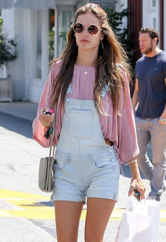 Alessandra Ambrosio wearing Blank NYC Overalls