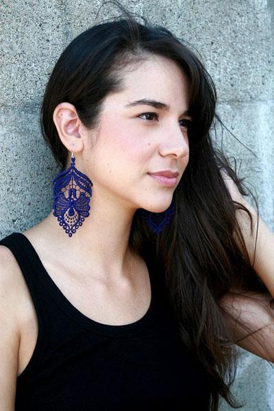 image of Leyna Lightman Buena Vista Lace Earrings in Purple