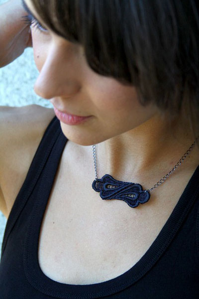 image of Leyna Lightman Dogpatch Lace Necklace in Dark Grey