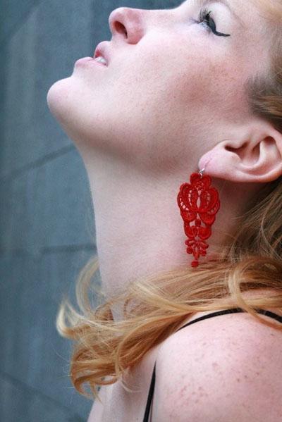 image of Leyna Lightman Golden Gate Lace Earrings, Handmade in Red