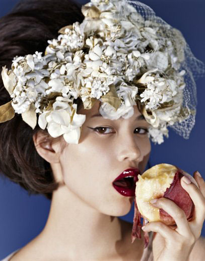 image of Kiko Mizuhara peach in the NYC Barneys Campaign