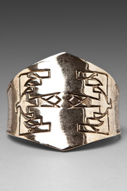 image of Low Luv Erin Wasson Thunderbird Etched Cuff in Gold