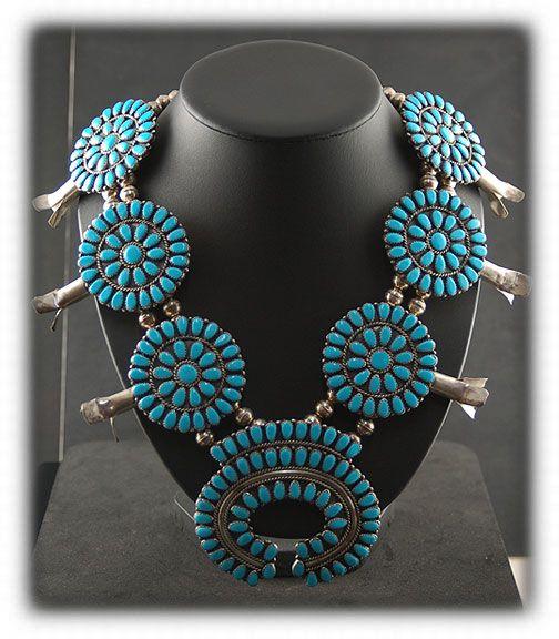image of Vintage Navajo Squash Blossom Necklace