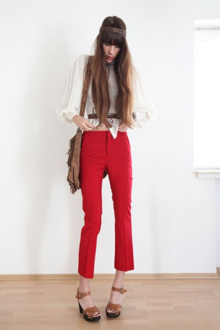 image of red pants and cream blouse