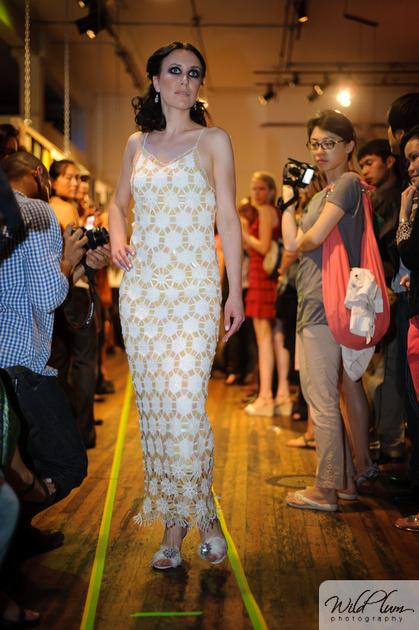 Violetta Vieux- crochet bridal gown -Viogemini- San Francisco Fashion Week 2011 - Couture wedding dresses- Laurel Schaffer- Downright red- stylebust