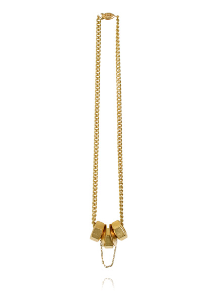 image of Ana Locking Golden nuts necklace