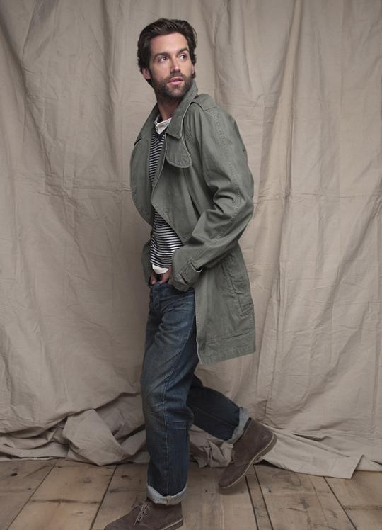 image of club-monaco-spring-2011-mens-military-jacket-benjamin-striped-v-neck-owen-henley-slim-straight-jean-clarks-desert-boots