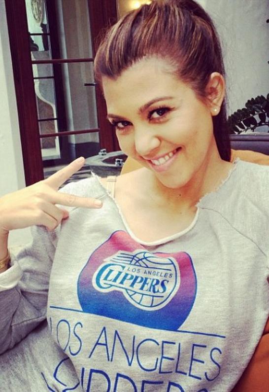 Kourtney Kardashian wearing Sportiqe Los Angeles Clippers Yolo French Terry Sweatshirt