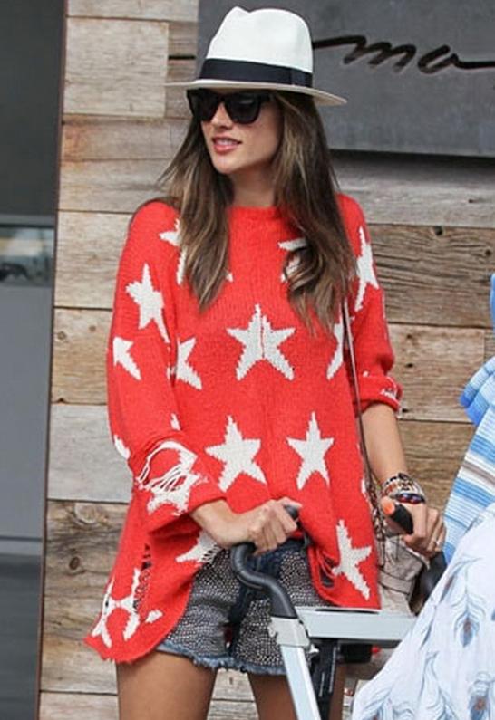 Alessandra Ambrosio wearing Wildfox Seeing Stars Loose Knit Sweater