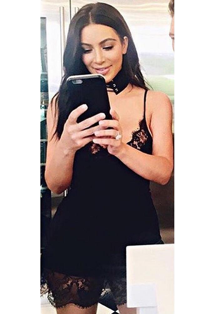 Kim Kardashian wearing My Style Mode Lace Trim Satin Mini Dress
