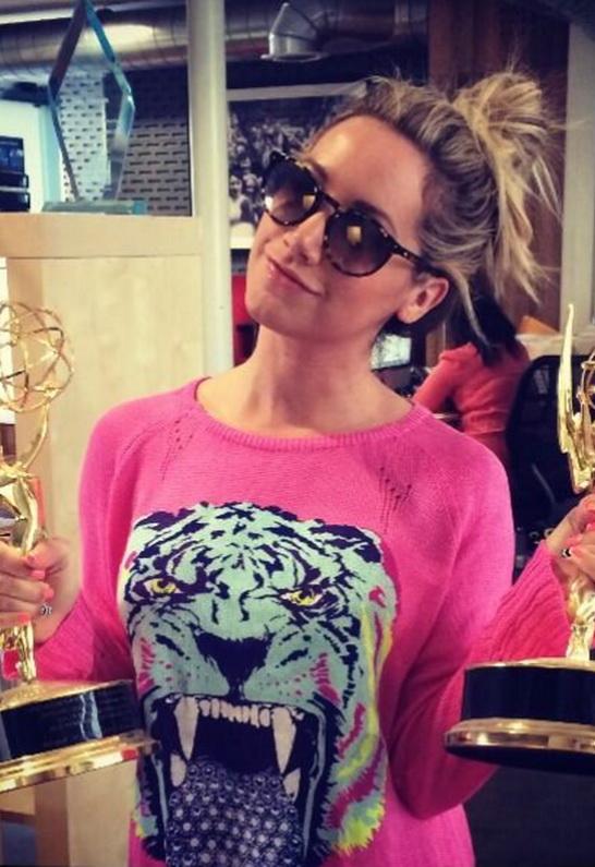 Ashley Tisdale wearing Lauren Moshi Bright Diamond Tongue Wildcat Helena Sweater with Slit