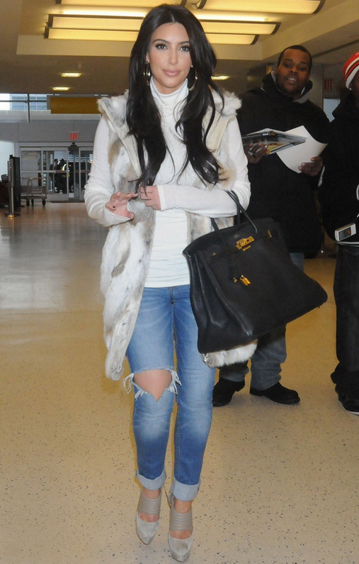 Kim Kardashian wearing Jet by John Eshaya Hippie Fade Skinny Jean in Light Blue